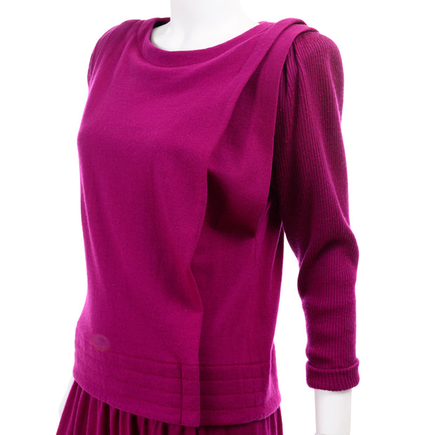 1980s Norma Walters 2 pc Fuchsia Magenta Pink Vintage 2 pc Dress