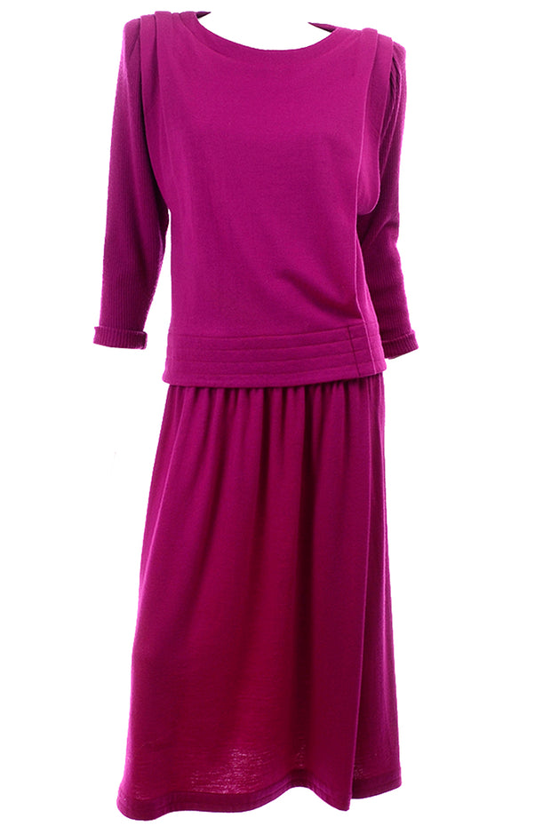 Norma Walters Fuchsia Magenta Pink Vintage 2 pc Dress