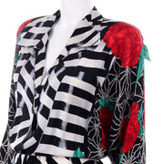 1980s Norma Walters Optical Illusion Silk Dress w/ Roses & Black & White Stripe