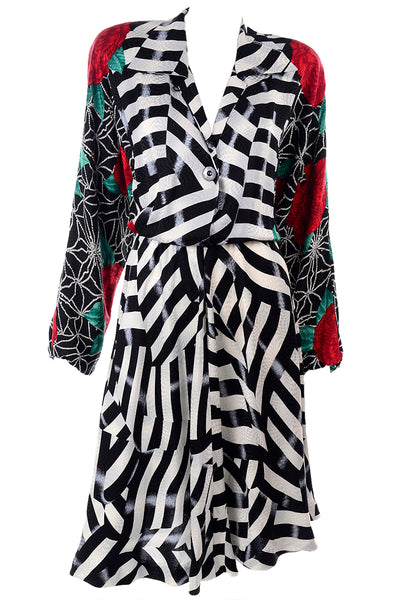 Norma Walters Black and White Striped Rose Dress