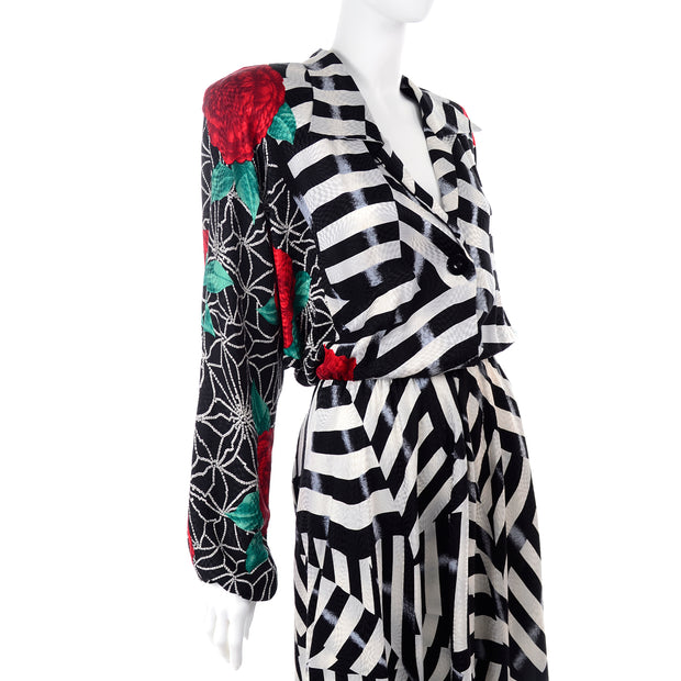 Norma Walters Dolman Sleeve Silk Floral Striped Dress