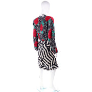 Norma Walters Red Rose Vintage dress w/ trompe L'oeile stripes