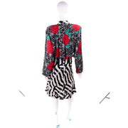 Abstract striped floral spiderweb silk vintage dress