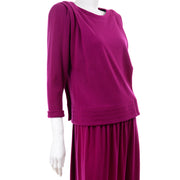Norma Walters Fuchsia Magenta Pink Vintage Skirt Top 2pc Dress