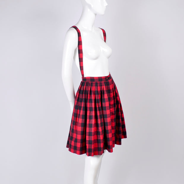 1980's Norma Kamali Plaid Suspender Skirt