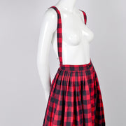 Vintage Norma Kamali Plaid Jumper Skirt with Suspenders