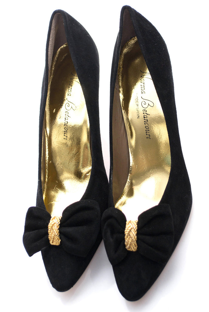 New vintage shoes 8.5 black suede Norma Betancourt