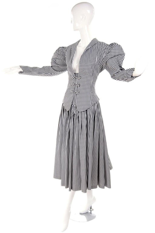 Victorian Revival Norma Kamali checked taffeta skirt & top jacket