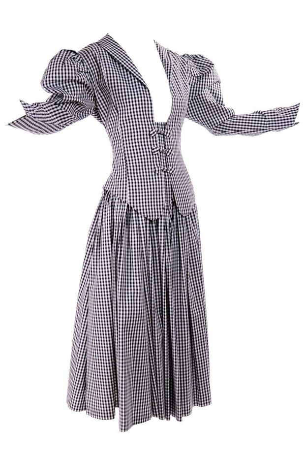 1980's Norma Kamali black and white checked dress