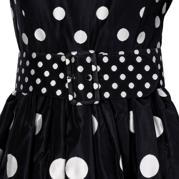 Black belted Norman Norell polka dot vintage dress
