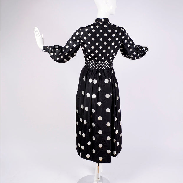 1960's Norman Norell vintage polka dot dress black