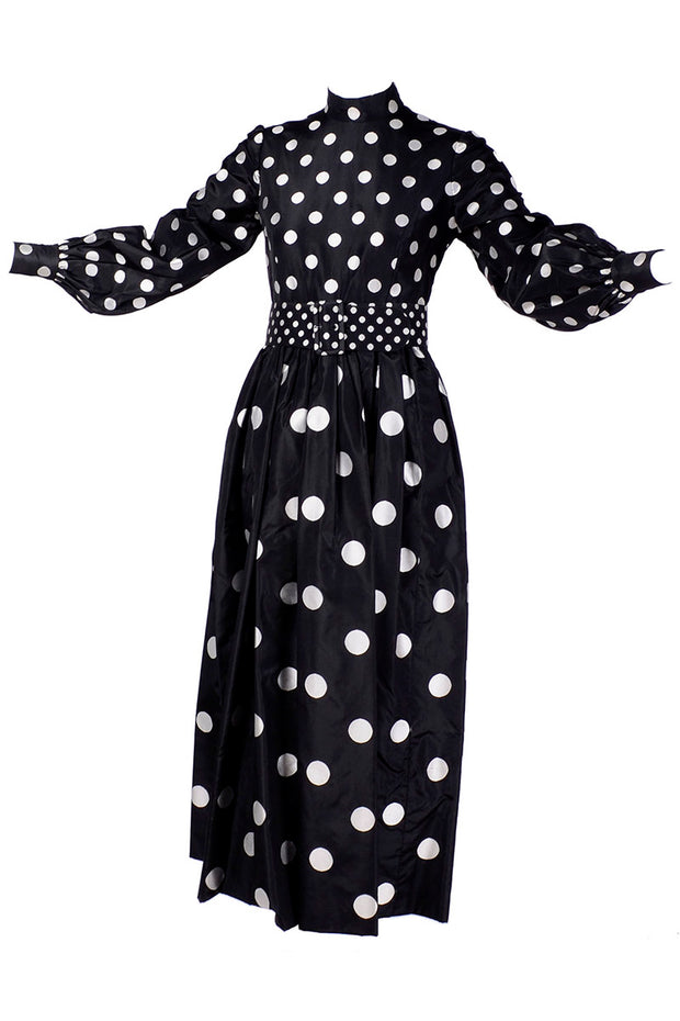 Norman Norell 1960's black and white polka dot vintage dress