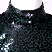 Norman Norell green sequin 2 piece dress vintage