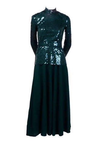 Vintage Norman Norell sequined dress forest green