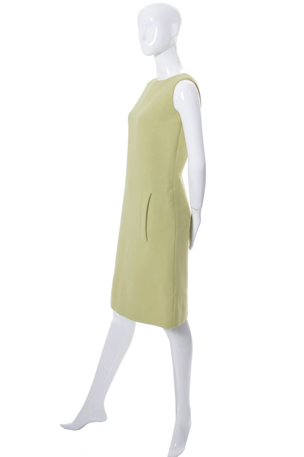 1960s Norman Norell New York Designer Green Wool Dress - Dressing Vintage