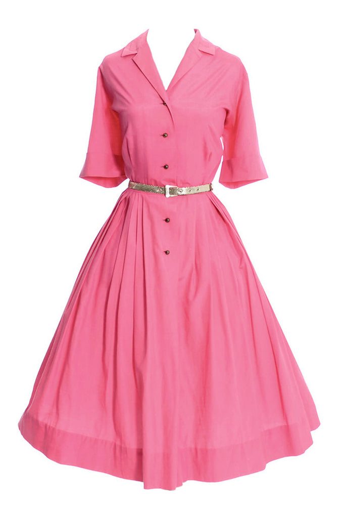Strawberry Pink 1960's Vintage Norman Wiatt California Dress 42B - Dressing Vintage