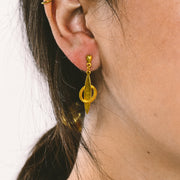 1980s Gold Tone Drop Earrings w/ Small Textured Hoop