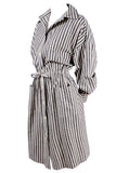 1980s Oleg Cassini Striped Silk Dress