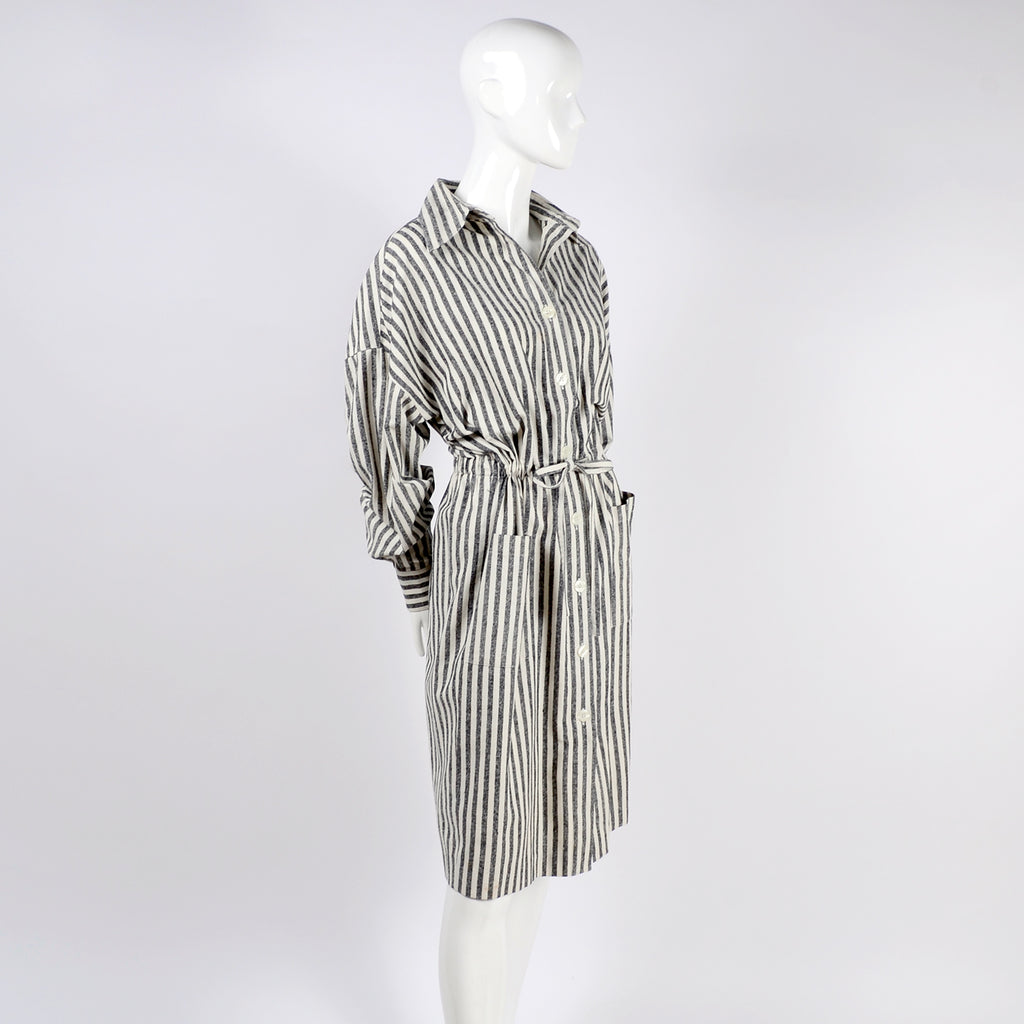 Oleg Cassini Striped Dress Waist TIe
