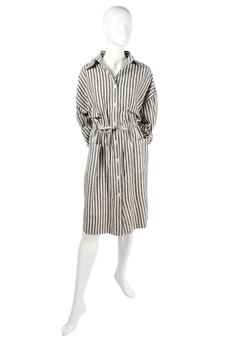 1980's Vintage Silk Grey White Striped Day Dress