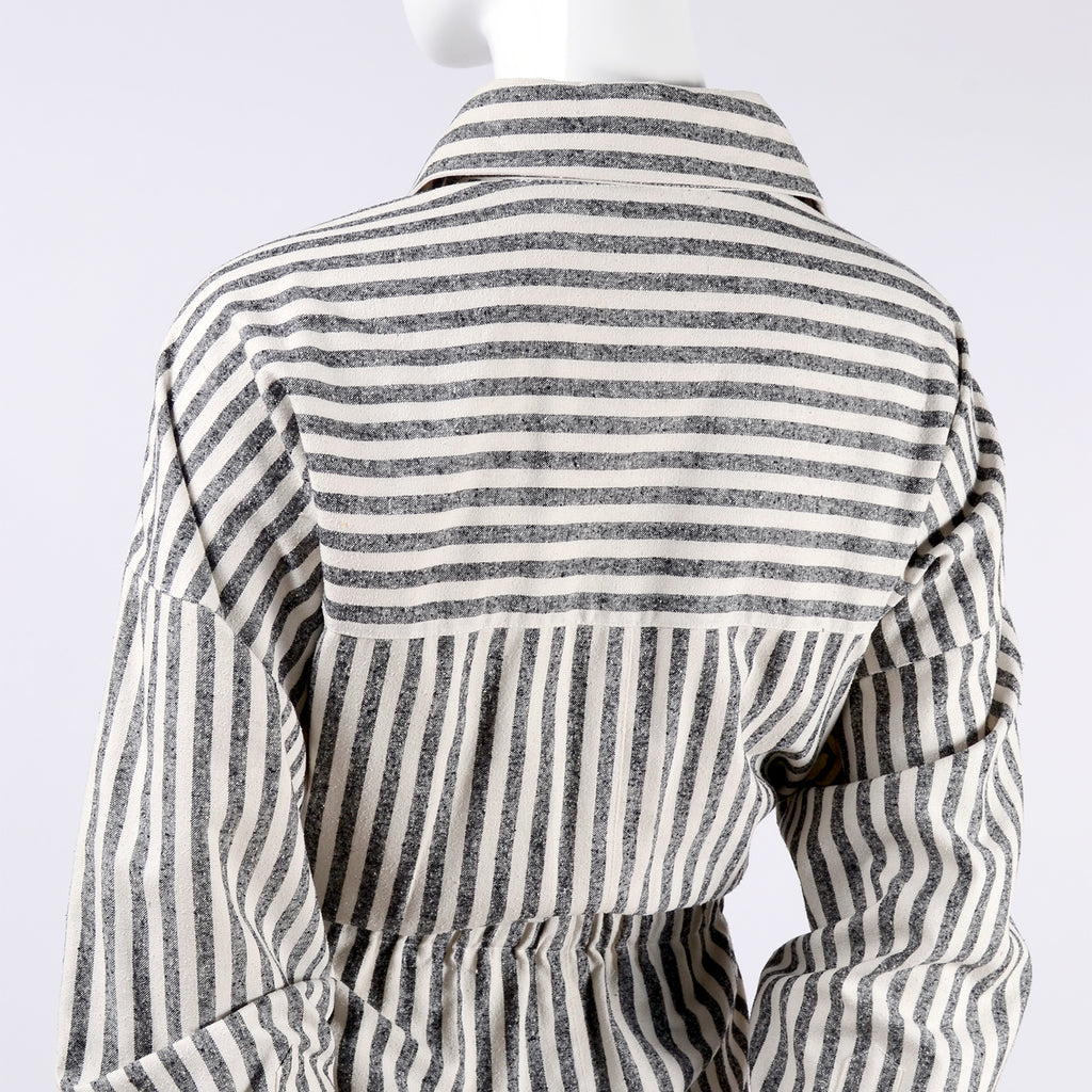 Grey and white striped silk shirt dress by Oleg Cassini