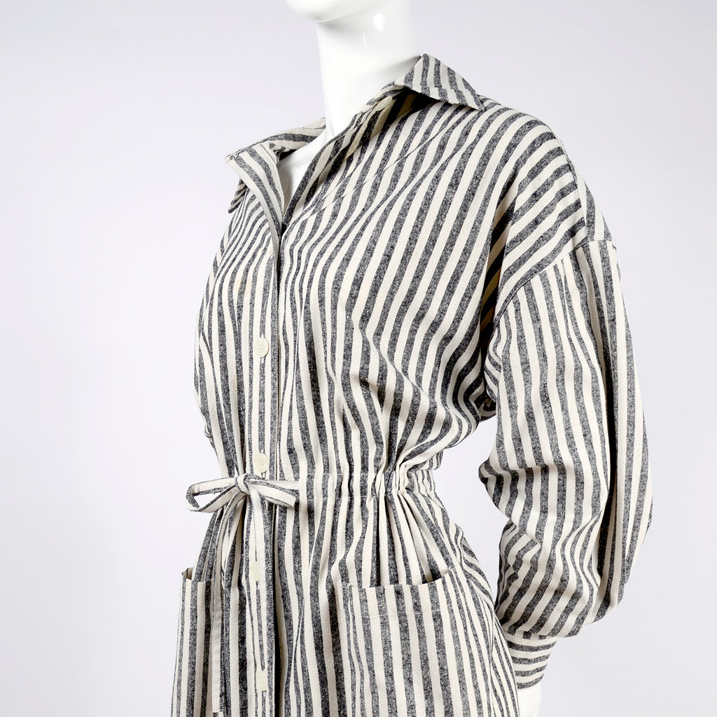 Vintage Oleg Cassini striped silk shirt dress