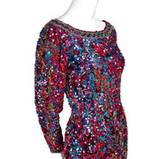 Heavily beaded Oleg Cassini Bodycon Mini Dress