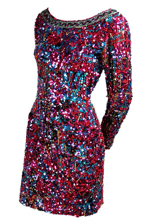 Oleg Cassini Beaded Sequin 1980's Bodycon Dress