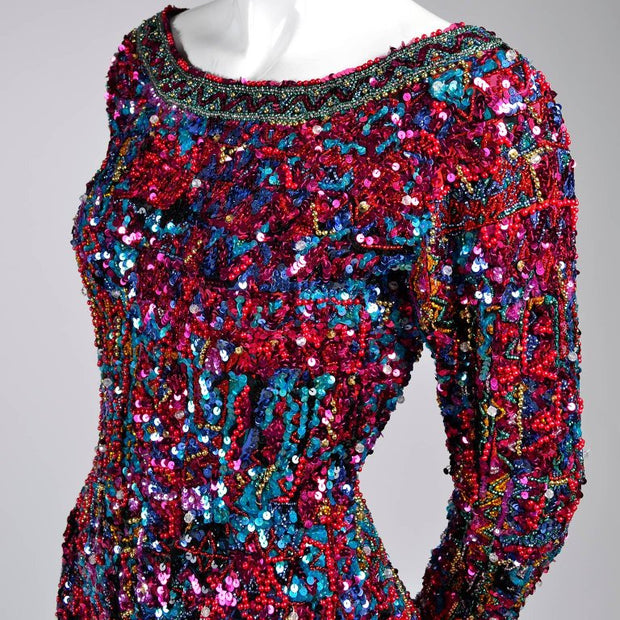 Beaded sequin long sleeve mini dress