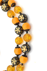 Beaded Hong Kong 1960s Vintage Necklace Earrings