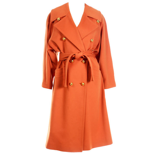 Guy Laroche Vintage Orange Cashmere Blend  Designer Coat With Belt