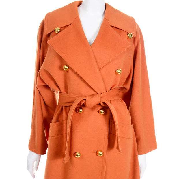 Guy Laroche Vintage Orange Cashmere Blend Coat With Belt gold dome buttons