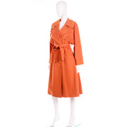 Guy Laroche Vintage Orange Cashmere Blend Coat With Belt Excellent condition