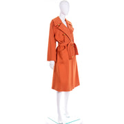 1980s Guy Laroche Vintage Orange Cashmere Blend Coat With Belt