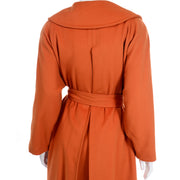Guy Laroche Vintage Orange Cashmere Blend Coat With Belt 1980s