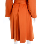 Guy Laroche Vintage Orange Cashmere Blend Coat With Belt back pleat