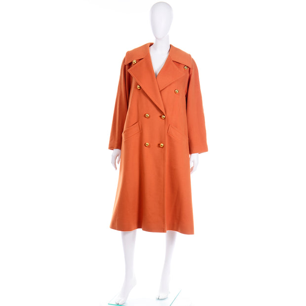 80s Guy Laroche Vintage Orange Cashmere Blend Coat With Belt