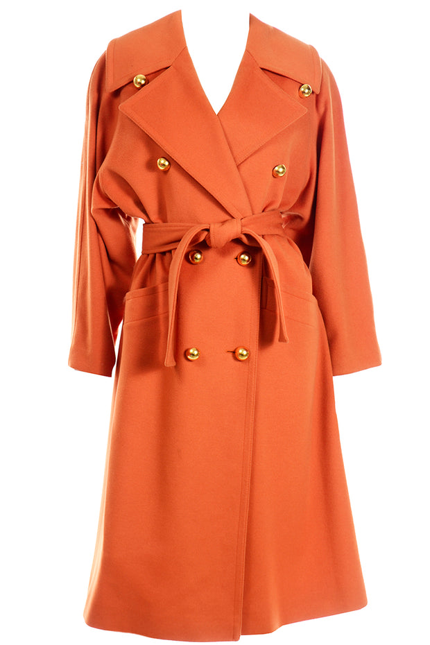 Guy Laroche Vintage Orange Cashmere Blend Coat With Belt