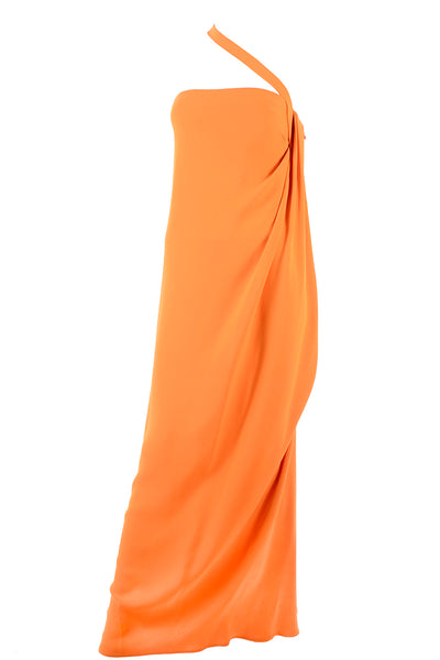 2008 Oscar de La Renta Orange Silk Dress