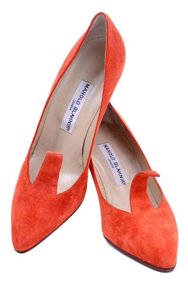 Orange Suede Manolo Blahnik Heels