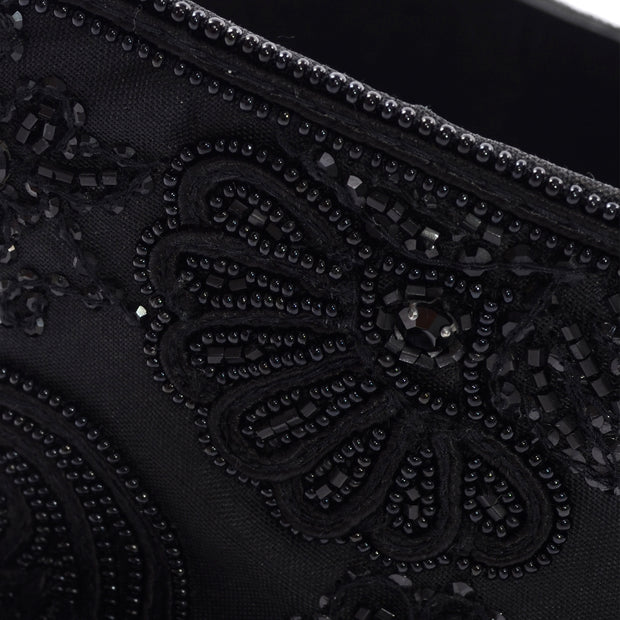 Oscar de la Renta Vintage Beaded Black Satin & Leather Wide Corset Belt