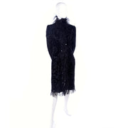 Oscar de la Renta Black Velvet Coat w Sequins Lace & Feathers Rare