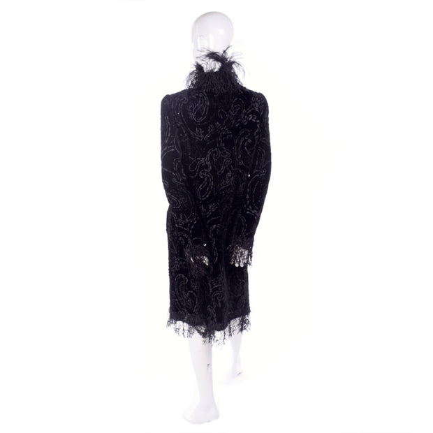 Oscar de la Renta Black Velvet Coat w Sequins Lace & Feathers Modig