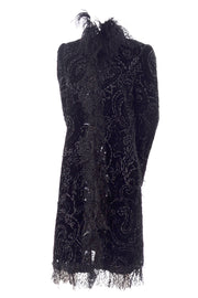 Oscar de la Renta Black Velvet Coat w Sequins Lace & Feathers