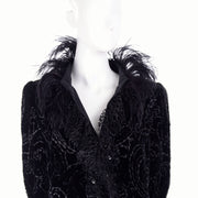 Modig Oscar de la Renta Black Velvet Coat w Sequins Lace & Feathers