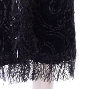 Oscar de la Renta Black Velvet Coat w Sequins Lace & Feathers Shop Modig