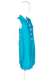 Oscar de la Renta Sleeveless Caribbean Blue Silk Bubble Dress Resort 2009