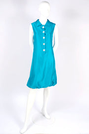 Oscar de la Renta Sleeveless Caribbean Ocean Blue Silk Bubble Dress Resort 2009