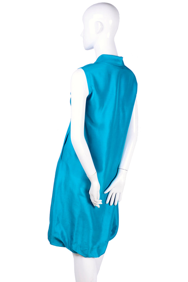 Oscar de la Renta Sleeveless Caribbean Blue Fine Silk Bubble Dress Resort 2009