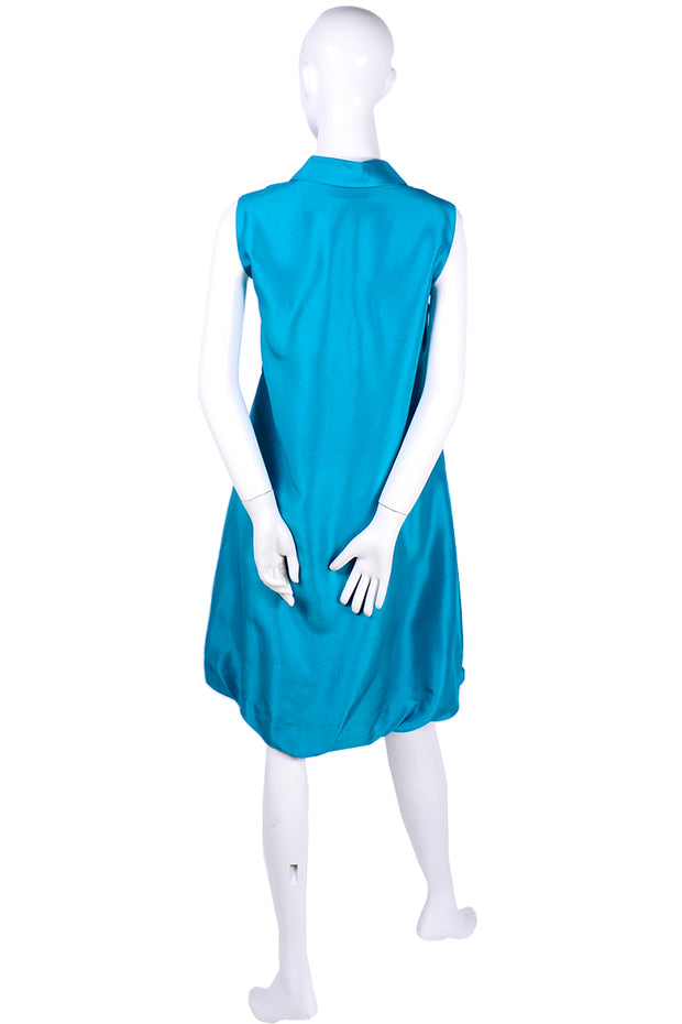 Oscar de la Renta Sleeveless Caribbean Sea Blue Silk Bubble Dress Resort 2009